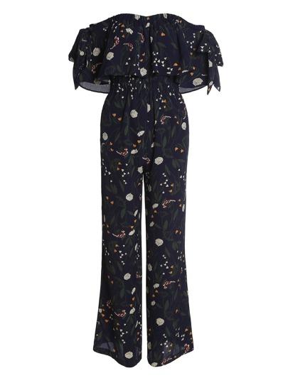 Тёмно-синий модный комбинезон с принтом и открытыми плечами