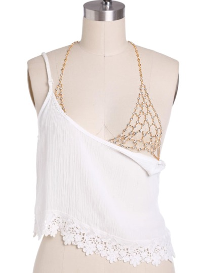 Rhinestone Embellished Bralet Body Chain
