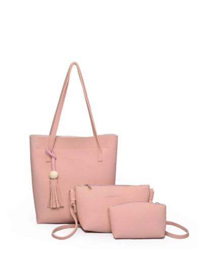 Fringe Detail PU Bag Set 3pcs