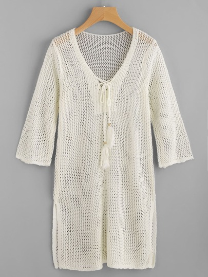 Tassel Tie Hollow Out Cover Up