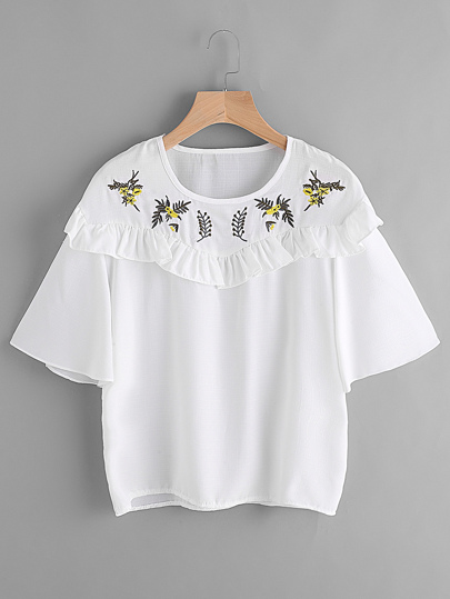 Embroidery Frill Trim Blouse