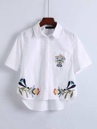 Flower Embroidery Pocket High Low Blouse