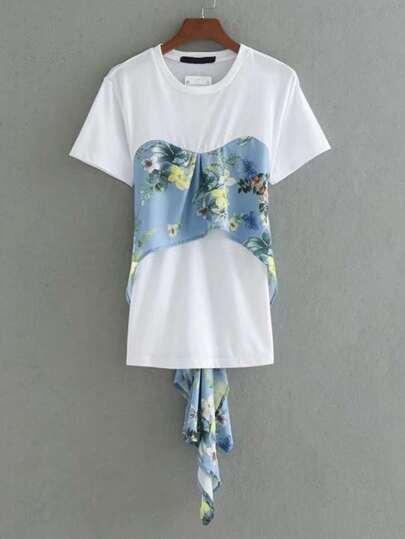 Camiseta con estampado floral 2 en 1