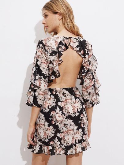 Open Back Ruffle Trim Floral Dress