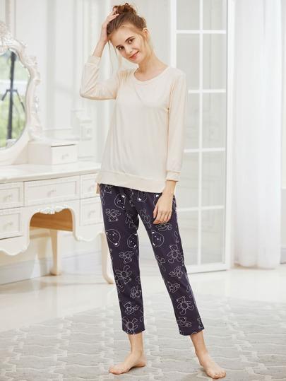 Pijama asimétrico con abertura lateral