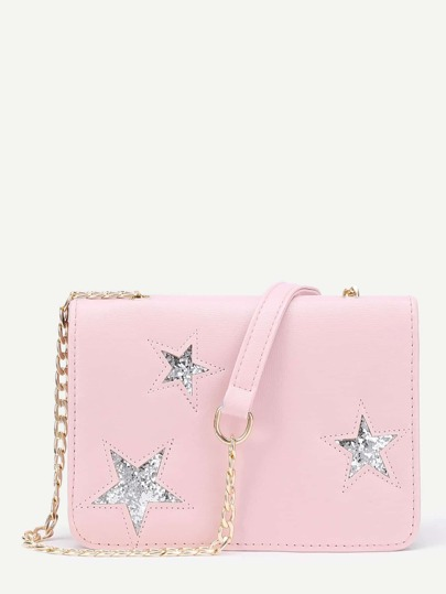Glitter Star Crossbody Bag With Chain