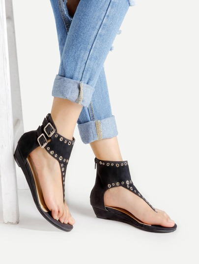 Grommet Toe Post Sandals With Zipper Back