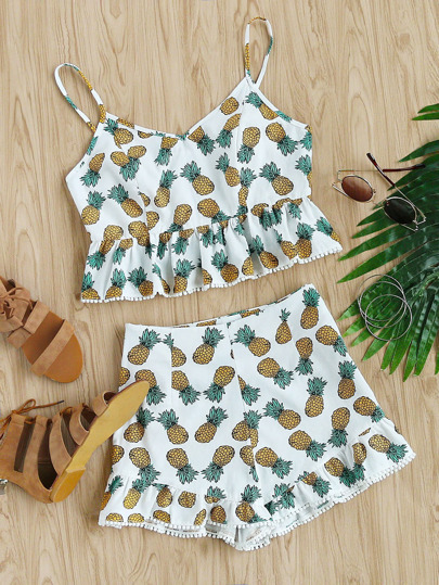 Dot Crochet Trim Pineapple Peplum Cami And Shorts Set