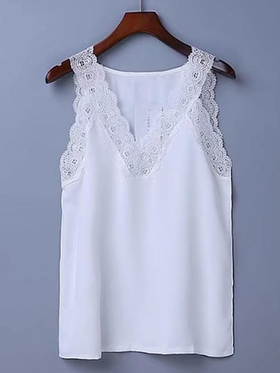 Contrast Lace Tank Top