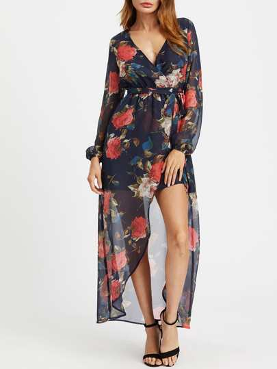 Empire Waist Lantern Sleeve Surplice Wrap Floral Dress