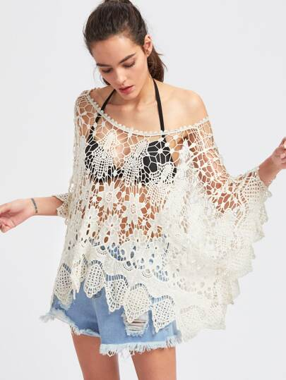 Boat Neck Kimono Sleeve Crochet Cover Up Top