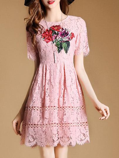 Flowers Applique Pouf Fringe Lace Dress