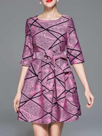 Color Block Jacquard A-Line Dress