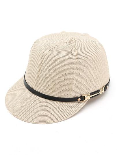 Cappellino di paglia bianco con visiera in pelle