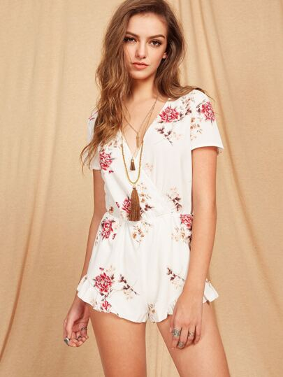 Plunging Surplice Front Frill Hem Wrap Romper