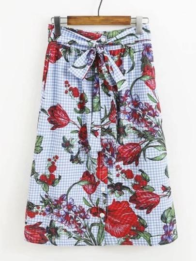 Bow Tie Waist Grid A Line Skirt