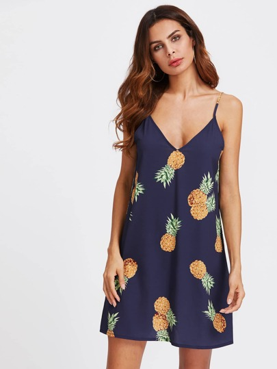 Double V Neck Pineapple Print Cami Dress