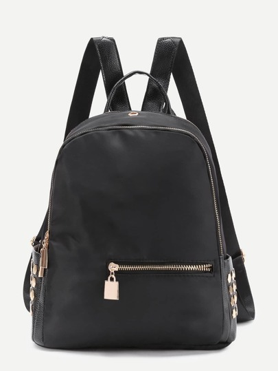 Metal Detail Nylon Backpack