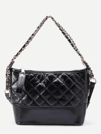Zipper Detail Quilted PU Shoulder Bag