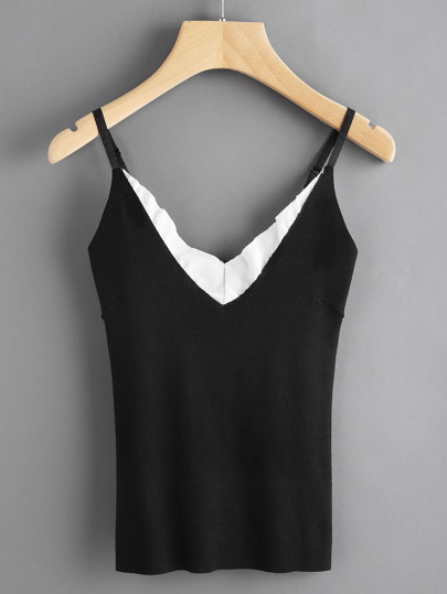 Contrast Frill Trim Knit Cami Top