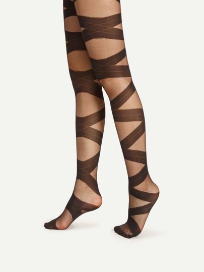 Criss Cross Bandage Pattern Tights