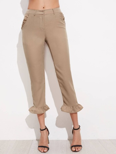Frill Embellished Crop Tailored Pants