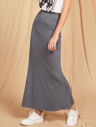 Heather Knit Slim Fit Jersey Skirt