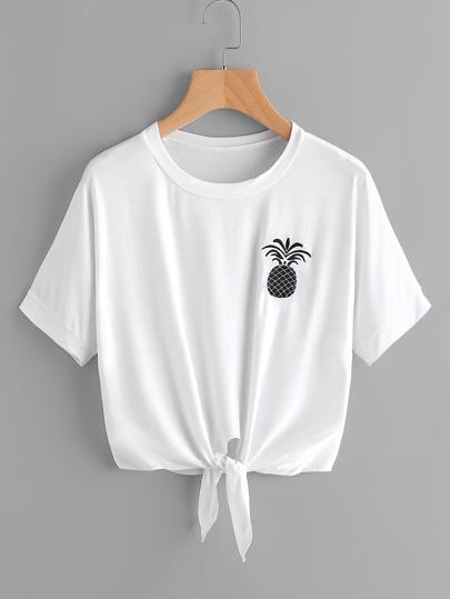 T-Shirt mit Ananasstickereien und Band vorn