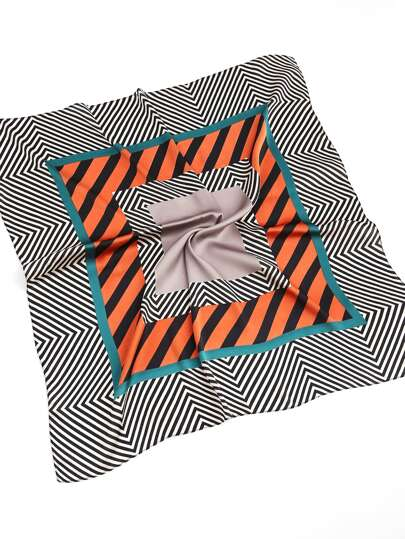 Striped Print Satin Bandana