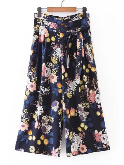 Tie Waist Floral Wide Leg Pants