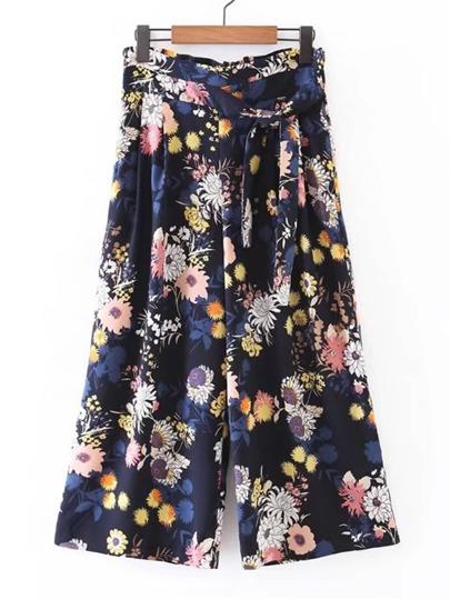 Pantaloni a gambe larghe floreali della vita legata