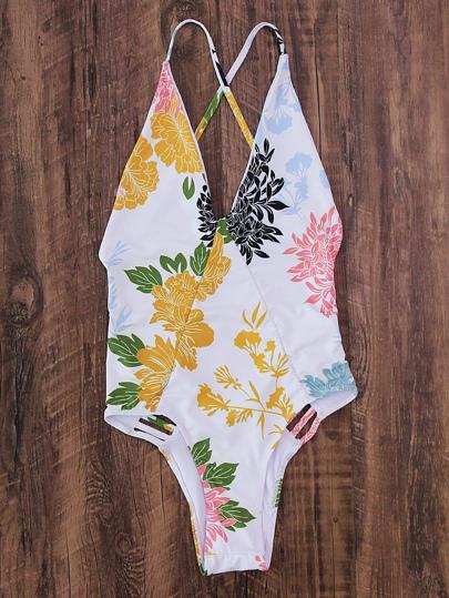 Flower Print Crisscross Back Ladder Cutout Swimsuit