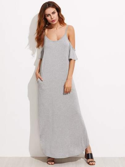 Open Shoulder Flutter Sleeve Slit Curved Heathered Dress