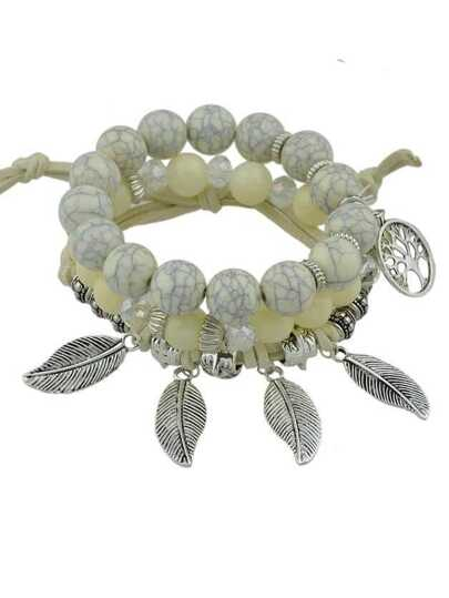 Beige Color Boho Feather Charms Multilayers Elastic Beads Chain Bracelet