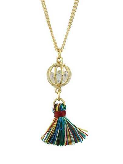 White Color Trendy Rhinestone Tassel Women Pendant Necklaces