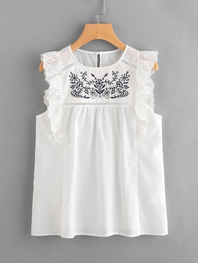 Embroidered Yoke Eyelet Frill Trim Shell Top