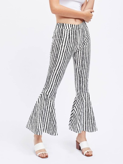Brush Stroke Stripe Print Flared Pants