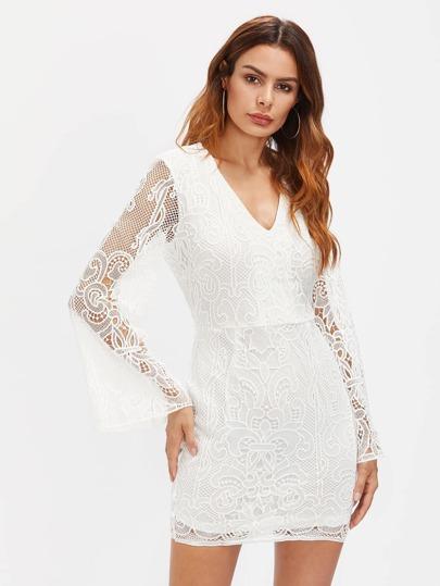 Vestido entallado crochet de encaje