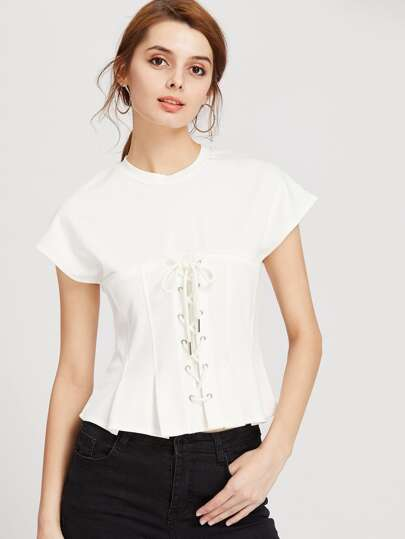 Lace Up Corset Tee