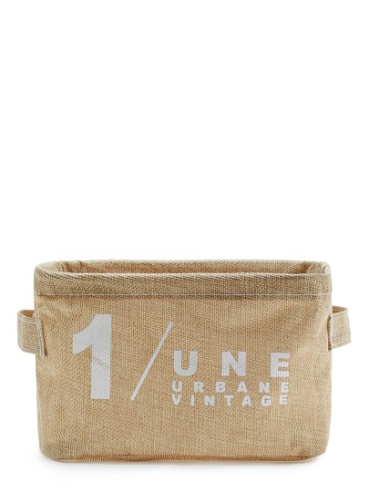 Slogan Print Storage Cube With Handle