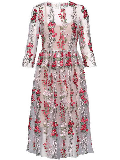 Gauze Flowers Embroidered Sheer Dress