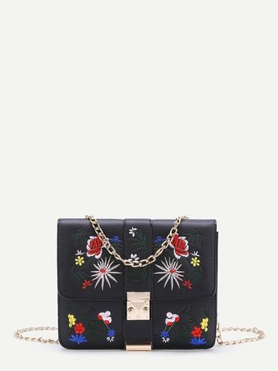 Модная сумка на цепочке с цветочной вышивкой