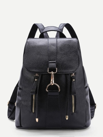 Front Double Zipper PU Backpack