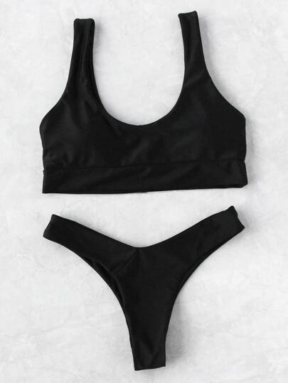 Scoop Neck Beach Bikini Set