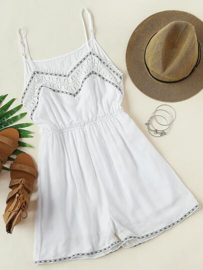 Embroidered Tape Detail Crochet Panel Cami Romper