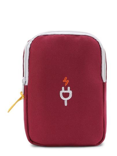Plug Embroidery Net Detail Makeup Bag
