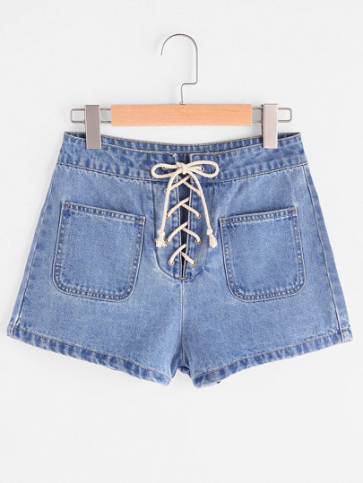 Patch Pocket Front Lace Up Denim Shorts