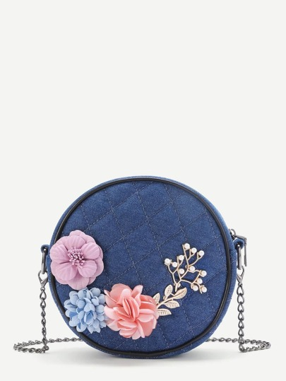 Random Color  Applique And Faux Pearl Design Quilted Denim Bag