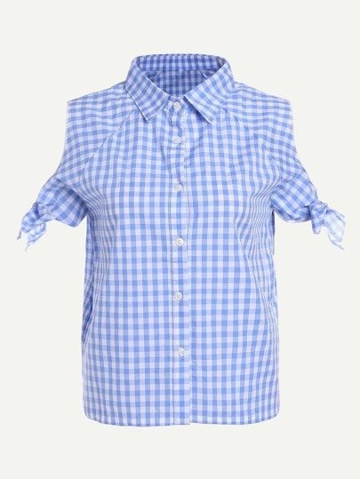 Self Tie Cutout Raglan Sleeve Gingham Shirt