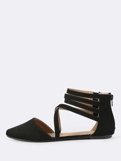Multi Strap Point Toe Flats BLACK